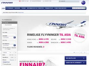 Skjermdump fra Finnair sin forside