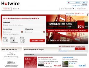 Skjermdump fra forsiden av Hotwire
