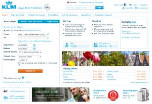 Skjermdump fra forsiden til KLM