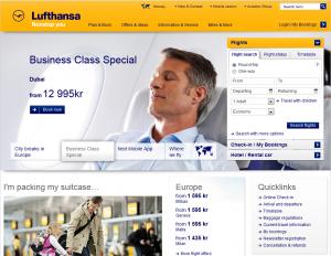 Skjermdump fra Lufthansa sin forside
